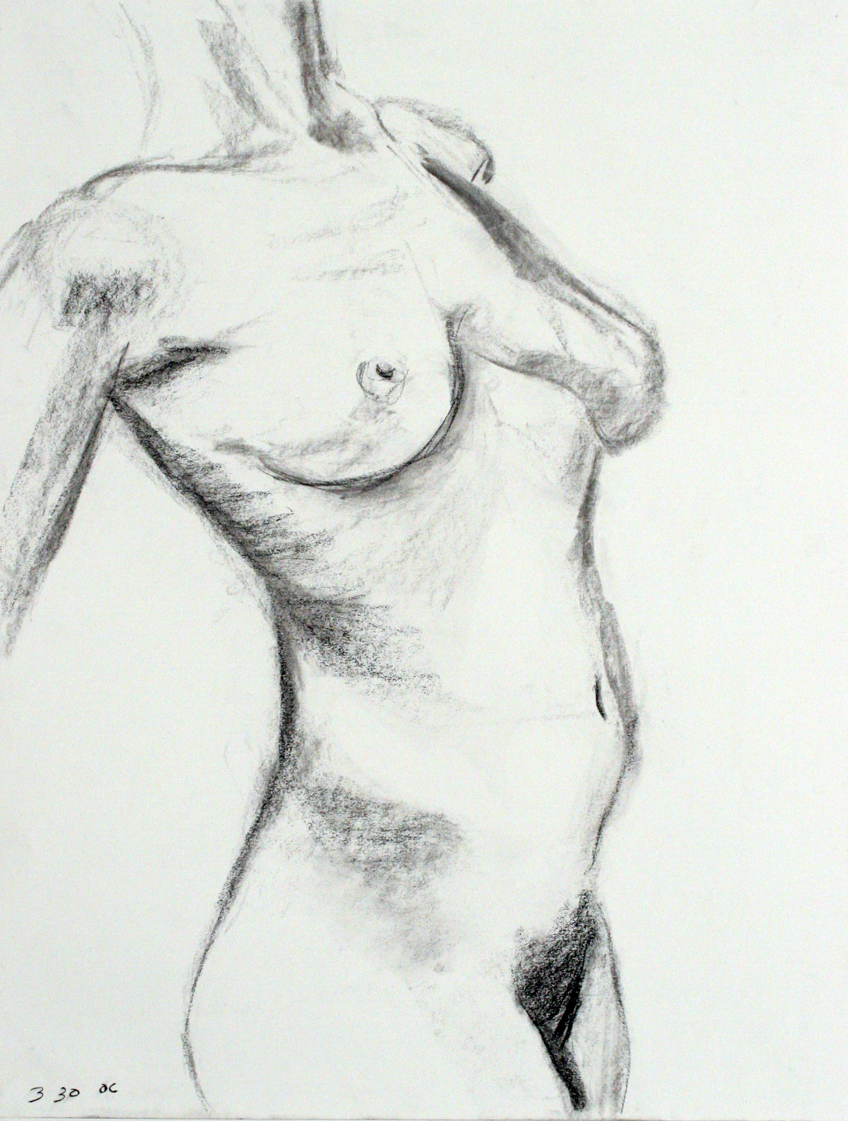 female nude torso lean back
